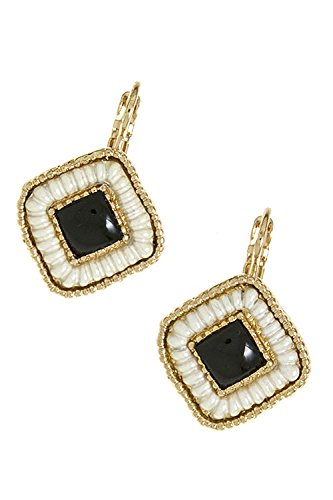 The Jewel Rack Etched Square Earrings (Black/White)