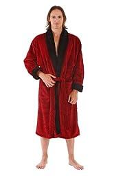 Del Rossa Men's Fleece Robe, Contrast Shawl Collar Bathrobe, 1XL 2XL Burgundy with Black (A0109WNE2X)