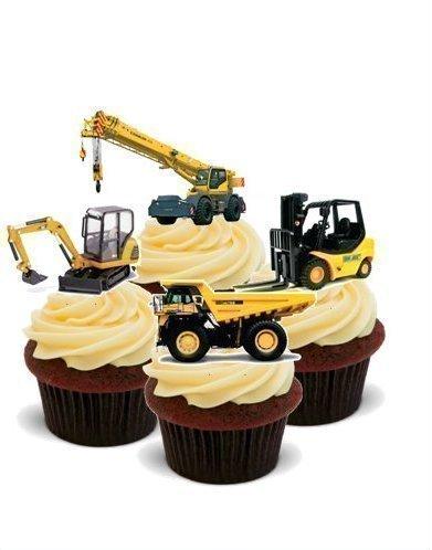 Topper misti con escavatori camion gru verticali for Decorazione torte con wafer