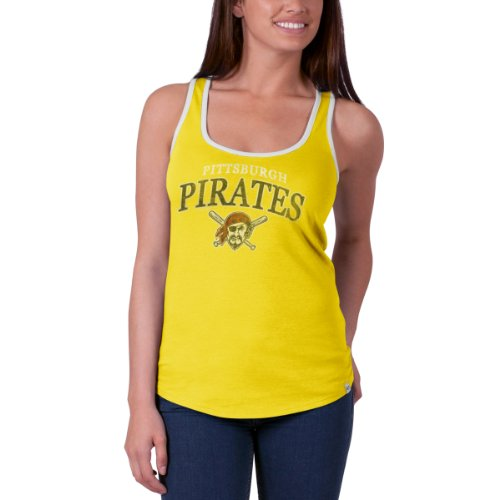 Mlb Pittsburgh Pirates Women'S Headway Tank Top, Large, Lemon Yellow front-1013874