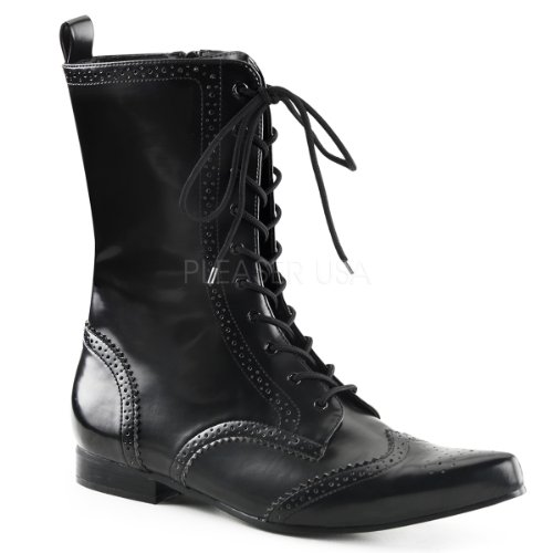 "Demonia Brogue-10 Men'S 1"" Block Heel, Wingtip Lace-Up Mid-Calf Oxford Boot, Color:Black Nappa Pu, Size:12"