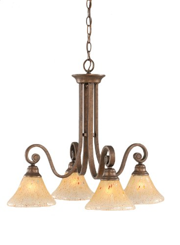 Toltec Lighting 258-BRZ-750 Curl Four-Light Down light Chandelier Bronze Finish with Amber Crystal Glass, 7-Inch