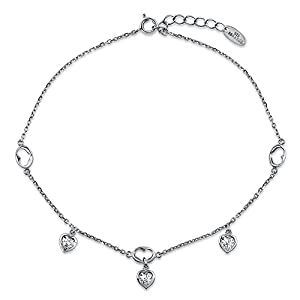 BERRICLE Sterling Silver Cubic Zirconia CZ Heart Fashion Charm Anklet 9