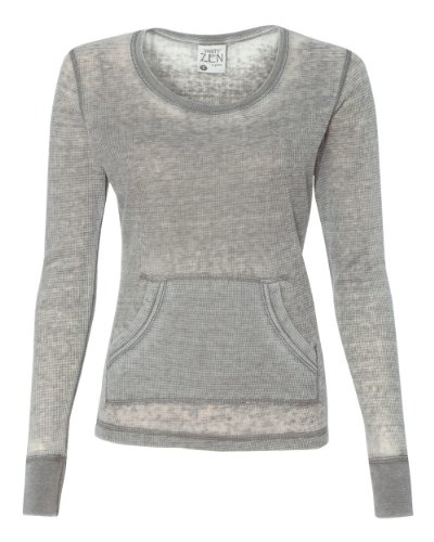 J America Ladies' Zen Thermal Long-Sleeve T-Shirt XL CEMENT