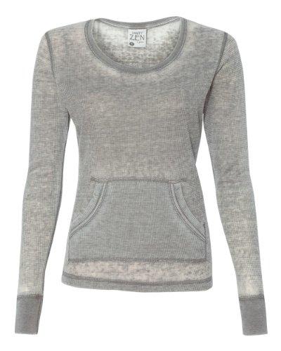 J America Ladies' Zen Thermal Long-Sleeve T-Shirt XL CEMENT