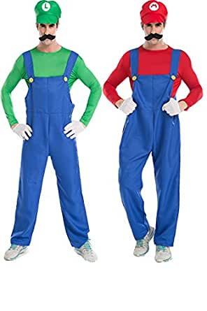Halloween Mario Luigi Brothers Cosplay Plumber Costume Suspender Trousers Clothes
