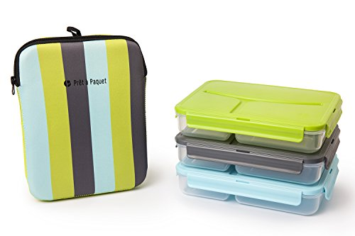 Set of 3 Lunch Boxes (Blue- Gray- Green)-Leak-Proof & Thermo-Sleeve! Easy to Clean & Dry! Perfect Size for your meals! For Adults and Kids! Recommended for healthier meals! (Lunch Containers For Toddlers compare prices)