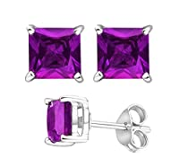 2.00 Carat Total Weight 925 Sterling Silver Earrings. 1.00 Carat Each Stone. Created CZ Amethyst by U.S.A