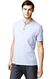Henley Neck T-Shirt with Stay New™