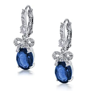 Silver Bridal Bow Ribbon Drop CZ Sapphire Color Leverback Earrings