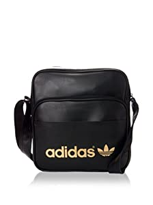 adidas Adicolor Sir Shoulder Bag - Black/Metallic Gold, 30 x 11 x 28 cm