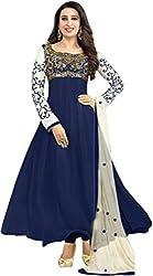 Navy Blue Georgette Anarkali Semi Stitched Dress Material
