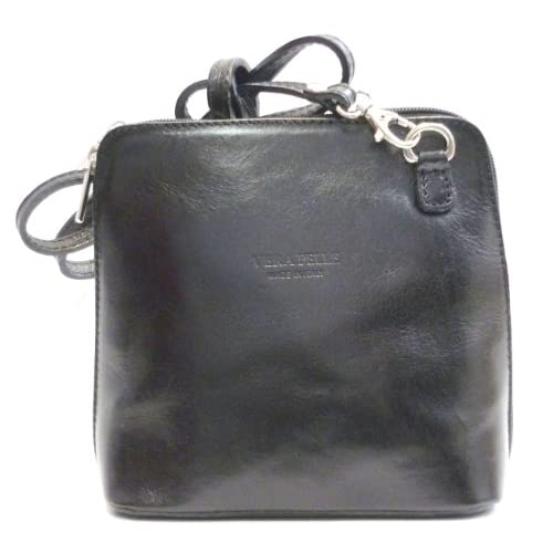 Black Leather Crossover Shoulder Handbag