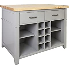 Jeffrey Alexander Conversation Kitchen Island in Grey (ISL13-GRY-ST)