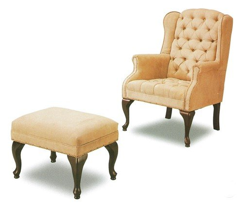 Button Tufted Wing Accent Chair &amp; Ottoman with Nail Head Trim