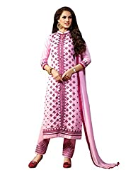 Varanga Light Pink Exclusive Pure Cotton Embroidered Dress Material with Matching Dupatta KF4PH1009