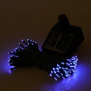 Andoer Super Bright 13M 120LED Solar Fairy String Light ideal for Christmas, Wedding Party Garden,Out Door Trees, Garden--Blue (Bright blue)