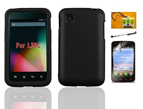 LF 4 in 1 Bundle - Black Hard Case Cover, Stylus Pen, Screen Protector & Wiper For (Net 10 / Tracfone / Straight Talk) LG Optimus Dynamic II L39C (Hard Black) (Lg Optimus Black Straight Talk compare prices)