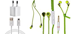 JIYANSHI combo of 2A wall charger & stylish KFM zipper green Compatible with Samsung Galaxy Trend