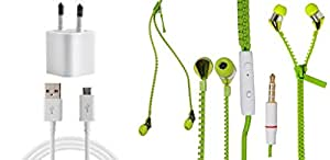 JIYANSHI Karbonn S9 Compatible Combo of 2A Wall Charger/Portable Charger & Zip Style Earphone Green
