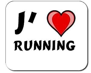 Tapis de souris avec une inscription: J'aime Running (Noms/Prénoms)