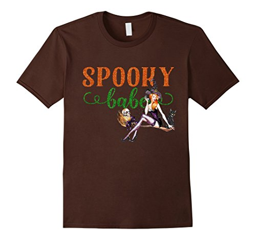 [Men's Sexy Halloween Shirt Spooky Babe Witch Skull Broomstick Cat Medium Brown] (Broomstick Babe Halloween Costume)