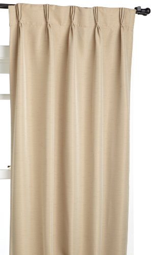 Eclipse Flynn 25-Inch by 84-Inch Thermaweave Blackout Pinch Pleat Panel, Beige