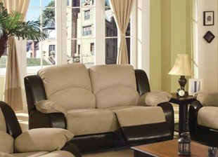 Buy Low Price Poundex Upholstery Recliner Loveseat Sofa – Beige and Brown Finish (VF_F7790)