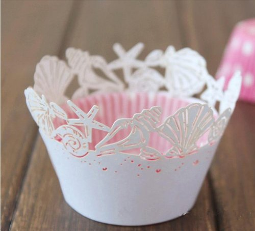 60 White Beach Themed Wedding Sea Shells Seashell Pearlescent Paper Cupcake Wrappers Baby Shower Wedding Party Cake Liners Decoration