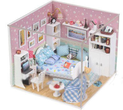 Big Dollhouse Miniature Diy Wood Frame Kit With Light Model Sweet Promise Gift Ldollhouse45-D62