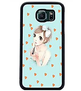 PrintDhaba Cute Girl D-5434 Back Case Cover for SAMSUNG GALAXY S6 EDGE (Multi-Coloured)