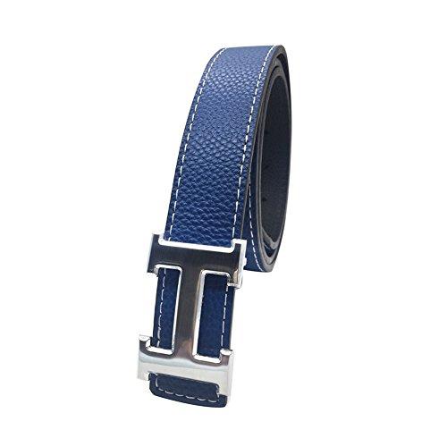 maikun-h-letter-silver-buckle-blue-leather-belt-110cm-for-waist-size-32-34