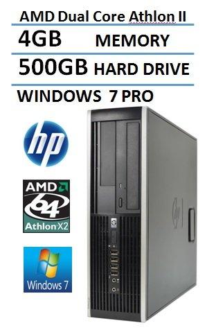 HP 6005 Pro Business Desktop Computer Small Form Factor (SFF), AMD Dual Core 3.4GHz Processor, 4GB RAM, 500GB HDD, DVDRW, Windows 7 Professional(Certified Refurbished) (Windows Desktop Computer compare prices)