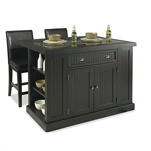 Nantucket kitchen island and stools distressed black finish kitchen