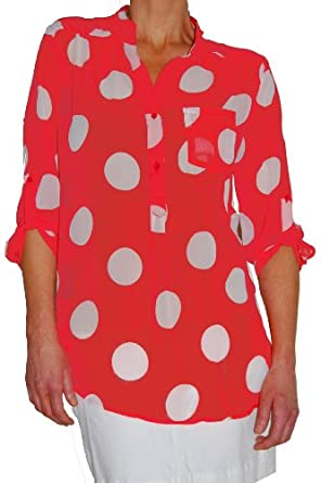 Top Polka Dot Button Tunic Blouse (Small, Coral and White)