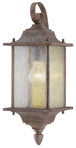 Westinghouse Lighting 6790400 One-Light Exterior Wall Lantern, Burnt Sienna Finish on Aluminum with Clear Seeded Glass Panels