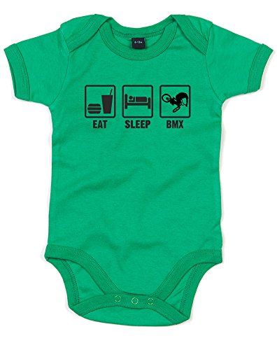 Eat Sleep Bmx, Printed Baby Grow - Kelly Green/Black 12-18 Months
