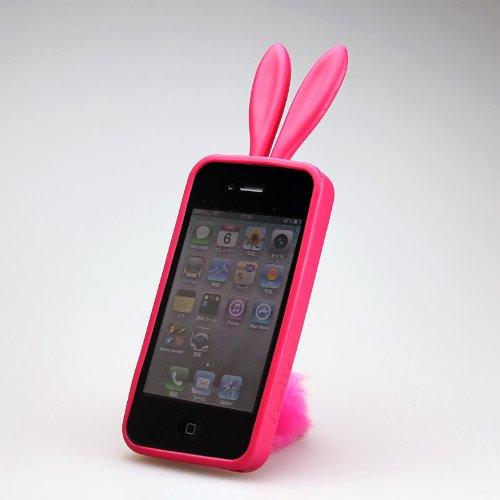 ふさふさ尻尾が可愛い!! iPhone4 rabito ラビットTPUケース (レッド)