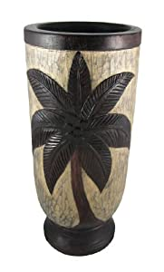 Hand Carved Palm Tree Motif Wooden Umbrella Stand