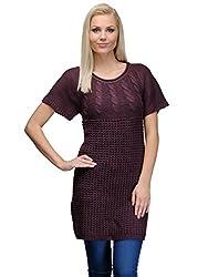 Curvy Q Half Sleeve Women's Purple Sweater