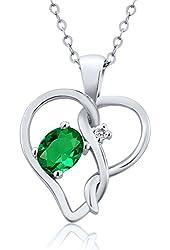 0.41 Ct Oval Green Nano Emerald White Sapphire 925 Sterling Silver Pendant