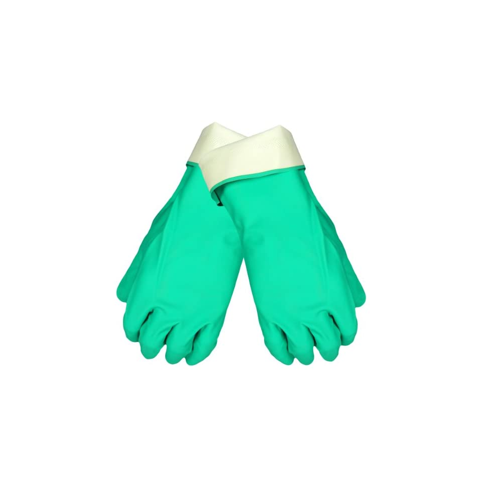 Global Glove 515F Flock Lined Nitrile Diamond Pattern Glove, Chemical Resistant, 15 mil Thick, 13 Length, 2X Large, Green (Case of 144)