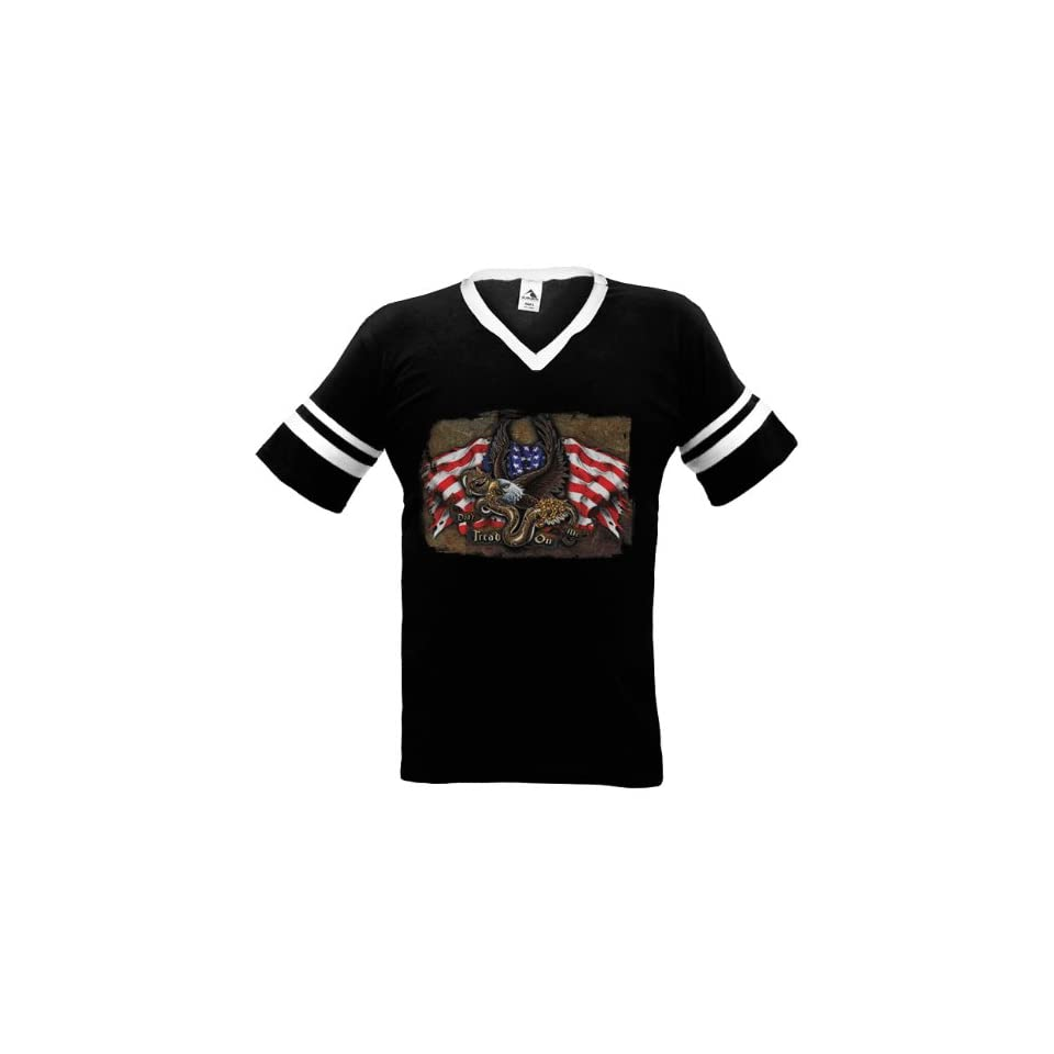 Don't Tread On Me Mens Ringer T shirt, U.S.A. Flag Eagle Snake Tattoo Style Design Mens V neck Shirt Clothing