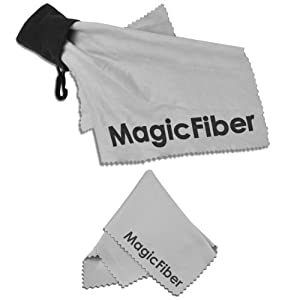 (2 Piece Set) MagicFiber Microfiber Cleaning Cloth Pouch Keychain + Original MagicFiber Lens Cleaning Cloth