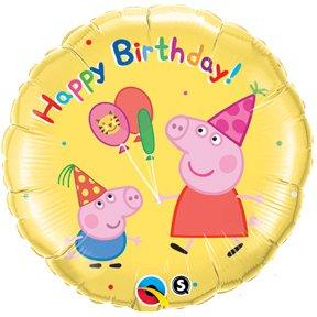 """Peppa Pig 18"""" Mylar Foil Happy Birthday Balloon by Qualatex"""