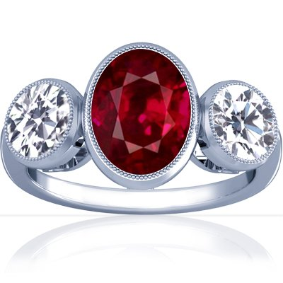 18K White Gold Oval Cut Ruby Three Stone Ring