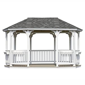 Suncast Oval Vinyl Gazebo with Floor and without Shingles, 10 by 16-Feet