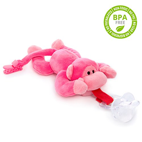 buy BabyHuggle Pink Monkey Pacifier - 4 in 1 Animal Stuffed Binky, Soft Plush Toy with Detachable Silicone Baby Paci, Dummy Clip & Squeaky Sound. Teether Holder. Safe & Soothing. Ideal Baby Shower Gift for sale