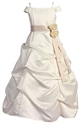 KID Collection Girls Regal Puff Dress 16 Ivory Taupe (kid 1147)