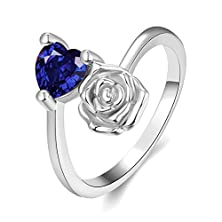 buy [Eternity Love] Women'S Pretty 18K White Gold Plated Elegant Imitation Sapphire Heart Crystal Wedding Engagement Band Rings Best Promise Rings For Her Tivani Anniversary Collection Jewelry Rings